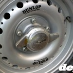 Dunlop centre-lock wheel at the Goodwood Breakfast Club